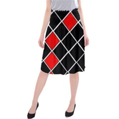 Elegant Black And White Red Diamonds Pattern Midi Beach Skirt
