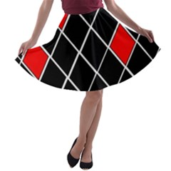 Elegant Black And White Red Diamonds Pattern A-line Skater Skirt