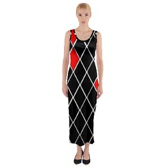 Elegant Black And White Red Diamonds Pattern Fitted Maxi Dress