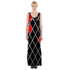 Elegant Black And White Red Diamonds Pattern Maxi Thigh Split Dress