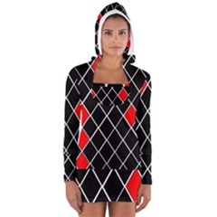 Elegant Black And White Red Diamonds Pattern Women s Long Sleeve Hooded T-shirt