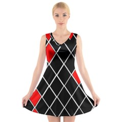 Elegant Black And White Red Diamonds Pattern V-Neck Sleeveless Skater Dress