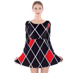 Elegant Black And White Red Diamonds Pattern Long Sleeve Velvet Skater Dress