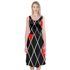 Elegant Black And White Red Diamonds Pattern Midi Sleeveless Dress