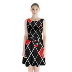 Elegant Black And White Red Diamonds Pattern Sleeveless Chiffon Waist Tie Dress