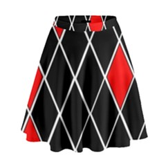 Elegant Black And White Red Diamonds Pattern High Waist Skirt