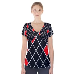Elegant Black And White Red Diamonds Pattern Short Sleeve Front Detail Top