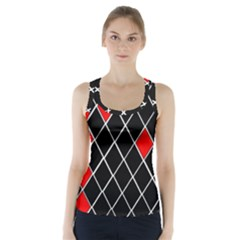 Elegant Black And White Red Diamonds Pattern Racer Back Sports Top