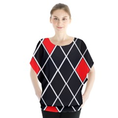 Elegant Black And White Red Diamonds Pattern Blouse