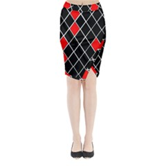 Elegant Black And White Red Diamonds Pattern Midi Wrap Pencil Skirt