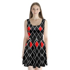 Elegant Black And White Red Diamonds Pattern Split Back Mini Dress
