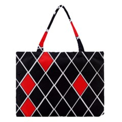 Elegant Black And White Red Diamonds Pattern Medium Tote Bag