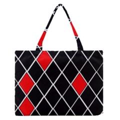 Elegant Black And White Red Diamonds Pattern Medium Zipper Tote Bag