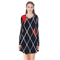 Elegant Black And White Red Diamonds Pattern Flare Dress