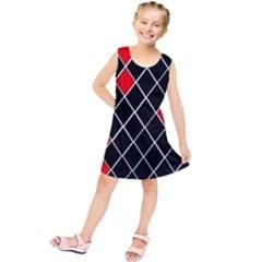 Elegant Black And White Red Diamonds Pattern Kids  Tunic Dress