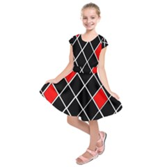 Elegant Black And White Red Diamonds Pattern Kids  Short Sleeve Dress