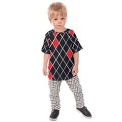 Elegant Black And White Red Diamonds Pattern Kids  Raglan Tee