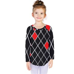Elegant Black And White Red Diamonds Pattern Kids  Long Sleeve Tee