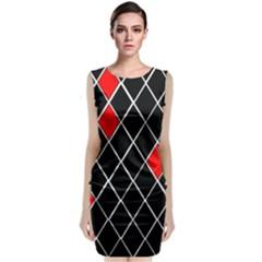Elegant Black And White Red Diamonds Pattern Sleeveless Velvet Midi Dress