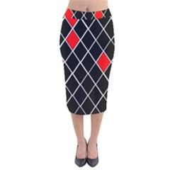 Elegant Black And White Red Diamonds Pattern Velvet Midi Pencil Skirt