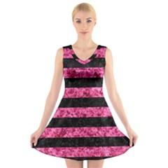 STR2 BK-PK MARBLE V-Neck Sleeveless Skater Dress