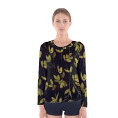 Dark Floral Print Women s Long Sleeve Tee