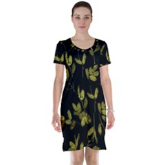 Dark Floral Print Short Sleeve Nightdress