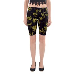 Dark Floral Print Yoga Cropped Leggings