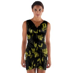 Dark Floral Print Wrap Front Bodycon Dress
