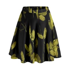 Dark Floral Print High Waist Skirt