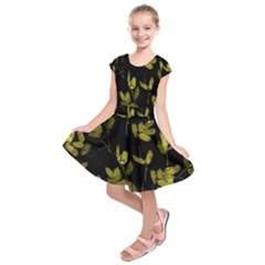 Dark Floral Print Kids  Short Sleeve Dress