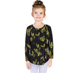 Dark Floral Print Kids  Long Sleeve Tee