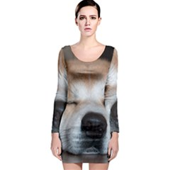 Akita Sleeping Long Sleeve Bodycon Dress