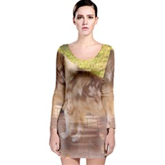 Australian Shepherd Red Merle Full Long Sleeve Bodycon Dress
