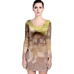 Australian Shepherd Red Merle Full Long Sleeve Velvet Bodycon Dress