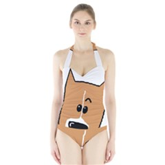 Peeping Basenji Halter Swimsuit