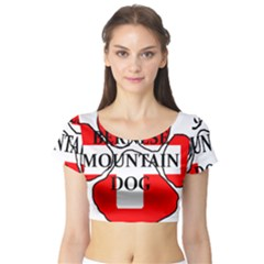 Ber Mt Dog Name Paw Switzerland Flag Short Sleeve Crop Top (Tight Fit)