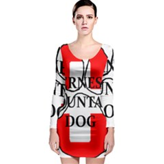 Ber Mt Dog Name Paw Switzerland Flag Long Sleeve Bodycon Dress