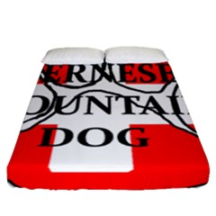 Ber Mt Dog Name Paw Switzerland Flag Fitted Sheet (Queen Size)