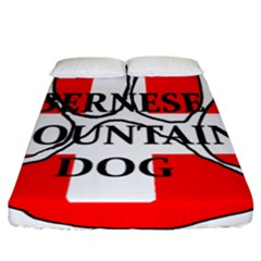 Ber Mt Dog Name Paw Switzerland Flag Fitted Sheet (California King Size)