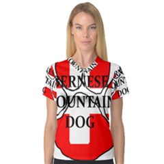 Ber Mt Dog Name Paw Switzerland Flag Women s V-Neck Sport Mesh Tee