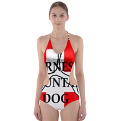 Ber Mt Dog Name Paw Switzerland Flag Cut-Out One Piece Swimsuit