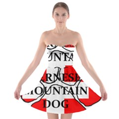 Ber Mt Dog Name Paw Switzerland Flag Strapless Bra Top Dress