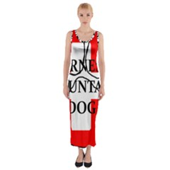 Ber Mt Dog Name Paw Switzerland Flag Fitted Maxi Dress
