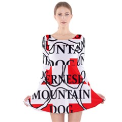 Ber Mt Dog Name Paw Switzerland Flag Long Sleeve Velvet Skater Dress