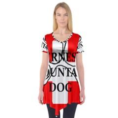 Ber Mt Dog Name Paw Switzerland Flag Short Sleeve Tunic