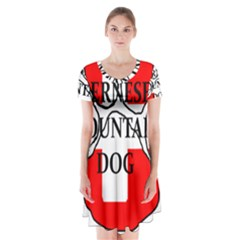 Ber Mt Dog Name Paw Switzerland Flag Short Sleeve V-neck Flare Dress