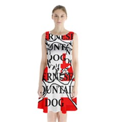 Ber Mt Dog Name Paw Switzerland Flag Sleeveless Chiffon Waist Tie Dress