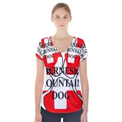 Ber Mt Dog Name Paw Switzerland Flag Short Sleeve Front Detail Top