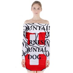 Ber Mt Dog Name Paw Switzerland Flag Long Sleeve Off Shoulder Dress